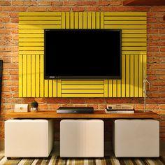 Este #painel feito de #decks amarelos é incrível para uma #decoração com o estilo #rústico! #decoração #design #madeiramadeira
