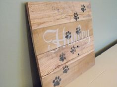 Personalized cats paws custom pet name cat reclaimed pallet wood wooden sign rustic farmhouse decor wall art outdoors cabin country kitchen by HewnWoods on Etsy