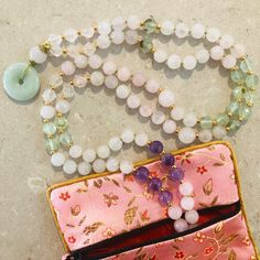 Rose Quartz, Prehnite and Amethyst mala necklace Heart And Mind, Silk Thread, Necklace Lengths, Rose Quartz, Amethyst, Pouch, Gemstones, Beads, Handmade