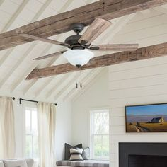Millwood Pines Ugalde 5 Blade Ceiling Fan, Light Kit Included Accessories: Standard No Remote Shiplap Ceiling, Sloped Ceiling, Beamed Ceilings, Vaulted Ceiling Bedroom, Faux Ceiling Beams, Exposed Ceilings, Rooms With Slanted Ceilings, Wood Plank Ceiling, Pallet Ceiling
