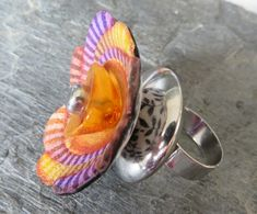 Big floral polymer clay ring with natural amber