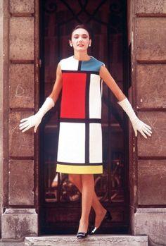 Yves Saint Laurent Mondrian inspired dress circa 1965