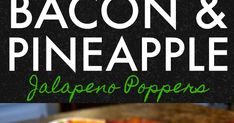 An amazing appetizer recipe for jalapeno peppers stuffed with a pineapple cream cheese filling wrapped in bacon then basted with barbeque sauce. Bacon Jalapeno Poppers, Cream Cheese Stuffed Jalapenos, Roasted Jalapeno, Stuffed Jalapeno Peppers, Cheese Dip Recipes, Bacon Recipes, Yummy Appetizers, Appetizer Recipes, Bacon Wrapped Pineapple
