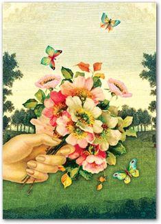 Bouquet & Butterflies by Cartolina Cards: Modern Paper Goods