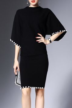 Shop joy&joso black beaded sweater and bodycon skirt here, find your sweater dresses at dezzal, huge selection and best quality. Suits Outfits, Mode Outfits, Hijab Fashion, Skirt Fashion, Fashion Dresses, Fashion Wear, Fashion Clothes, Black Women Fashion, Womens Fashion