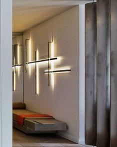 Light installation by Isabelle Stanislas, Elle Decoration, novembre 2012 Luminaire Led, Luminaire Design, Interior Walls, Best Interior, Interior Design, Modern Lighting Design, Interior Lighting, Sconce Lighting, Cool Lighting