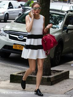 THE+OLIVIA+PALERMO+LOOKBOOK dress + men's shoes + red bag