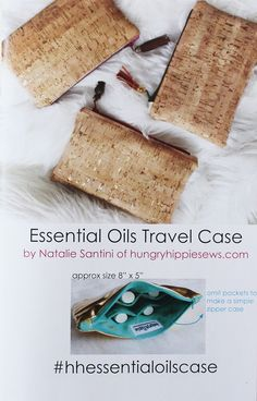 The Essential Oils Travel Case pattern guides you through sewing your own oils case in minimal time. THIS listing is for the PRINTED pattern--to be mailed Cork Fabric, Fabric Gifts, Bag Patterns To Sew, Sewing Patterns, Booklet Printing, Pouch Pattern, Glass Containers, Book Crafts, Essential Oils