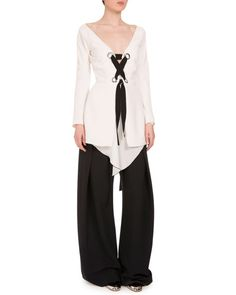 -6SSC Proenza Schouler  Long-Sleeve Lace-Up Crepe Top, Off White Baggy Tie-Front Woven Pants