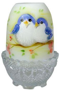 Fenton Art Glass 4-1/2'' Opal Satin Fairy Light with Handpainted Blue Bird Design