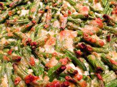 Grüne Bohnen mit Parmesan und Knoblauch als Gratin - Low Carb