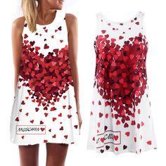 2016 summer new Bohemian women's dress loose sleeveless peach heart print dress sleeveless A-Beach Party Mini Dress Vestidos