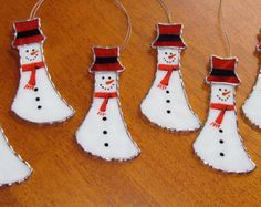 Christmas Holiday Stained Glass Suncatcher - Winter Icy Snowman with Red Hat, Snowman Ornament