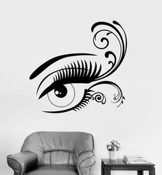 Vinyl Wall Decal Beautiful Sexy Eye Lashes Beauty Salon Makeup Stickers (944ig)