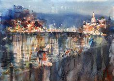 """romantic walk"" #watercolor #акварель #petrulenkov #вечер #art Watercolor, Painting, Art, Pontoons, Pen And Wash, Art Background, Watercolor Painting, Painting Art, Kunst"