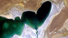 Visão aérea do Mar Aral do Norte, na Ásia Central - NASA2013