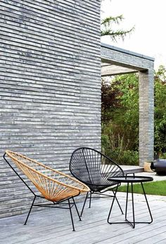 15 Times Acapulco Chairs Proved They're Stunning in Every Ro.- 15 Times Acapulco Chairs Proved They're Stunning in Every Room The minimalism of this space is played up by the geometry of these spare Acapulcos on the veranda. Outdoor Seating, Outdoor Spaces, Outdoor Chairs, Outdoor Living, Outdoor Decor, Adirondack Chairs, Deck Chairs, Garden Chairs, Office Chairs