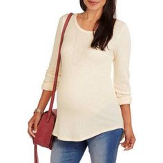 Inspire Maternity Long Sleeve Ribbed Crew Neck Top, Size: XL, Beige