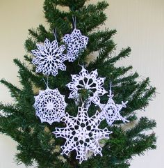 Crochet Christmas ornaments, Lace Crochet snowflakes, christening favors, Christmas decor, Christening decor, wedding day, Set of 6 - (C2)
