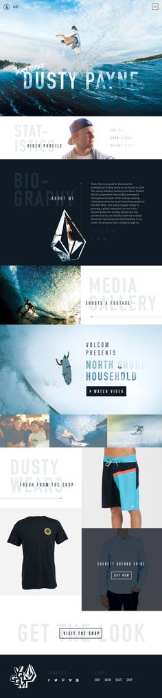 Volcom Website Concept by Green Chameleon. If you like UX, design, or design thinking, check out theuxblog.com