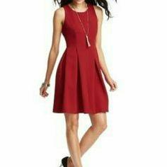 Loft Red Pleated Dress