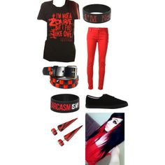 I'm not a zombie but i feel like one falling in reverse red and black scene outfit