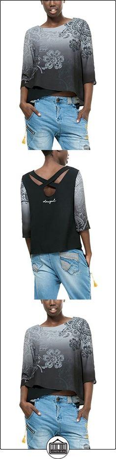 Desigual Blus_Happy, Blusa para Mujer, Gris (Gris Alquitran 2022), 36 (Talla del Fabricante: M)  ✿ Blusas y camisas ✿
