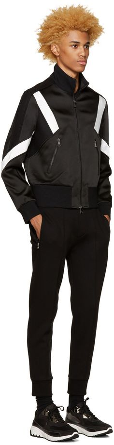 Neil Barrett - Black Modernist Track Zip-Up Sweater