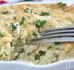 Broccoli Quinoa Casserole  --even meat-eaters love it.  One serving is under 200 calories.