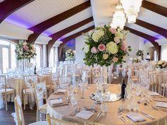 Country garden tall vase arrangements - flower ball centrepiece - colshaw hall wedding flowers - Laurel Weddings