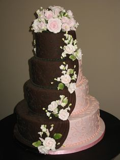 pink and brown wedding cake wwwcheesecakeetcbiz wedding cakes charlotte nc