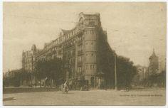 Cruce Alcalá y Goya. Edificio en cuyos bajos se encontraba la cervecería Cruz Blanca