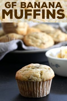 Moist, tender and fluffy gluten free banana muffins in the classic style, made with plenty of mashed ripe bananas and buttermilk for the perfect texture. Flours Banana Bread, Banana Bread Muffins, Gluten Free Banana Bread, Gluten Free Baking, Gluten Free Desserts, Gluten Free Recipes, Gf Recipes, Easy Recipes, Healthy Recipes