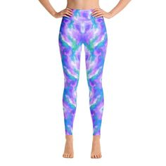 Yoga Pants - Serenity Printed Yoga Pants, Yoga Leggings, Shades Of Blue, Polyester Spandex, Serenity, Pants For Women, Pajama Pants, Elegant, Pink