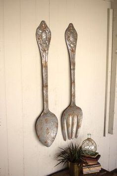 Cottage Style Dining Room, Fork Spoon Wall Decor, Contemporary Home Decor, Rustic Metal, Wall Decor Set, Kitchen Wall Decor, Rustic Kitchen, Kitchen Style, Home Decor Tips