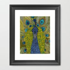 Mr. Pavo Real Framed Art Print by Valentina - $35.00