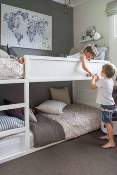 Awesome boy's grey and blue shared bedroom with low bunk beds