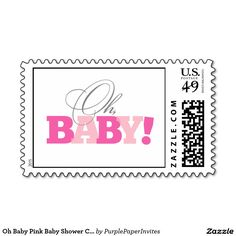 Oh Baby Pink Baby Shower Custom Postage Stamp