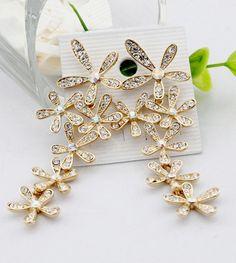 Wholesale Pair of Stunning Rhinestone Flower Shape Long Stud Earrings For Women (GOLD), Earrings - Rosewholesale.com
