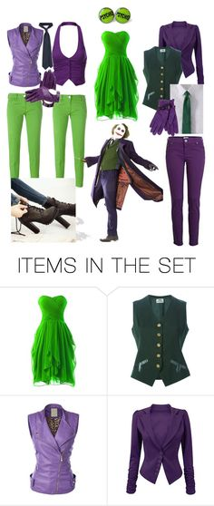 """""""the joker outfits 3, 4, 5 and 6"""" by starbucksstarbucks ❤ liked on Polyvore featuring art"""