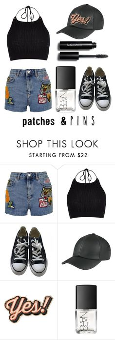 """""""Patches & pins"""" by sara-ramalho-ventinhas ❤ liked on Polyvore featuring Topshop, River Island, Converse, Anya Hindmarch, NARS Cosmetics, Bobbi Brown Cosmetics and patchesandpins"""