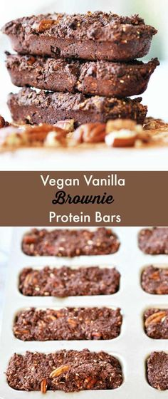 Vegan Vanilla Brownie Protein Bars! You can have your brownies and eat them without guilt! This recipe is made without refined sugars and is a great source of protein. Perfect as a pre or post workout snack. www.veganosity.com