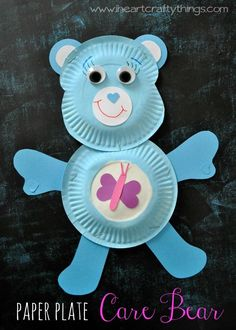 Paper Plate Care Bear Craft for Kids from iheartcraftythings.com