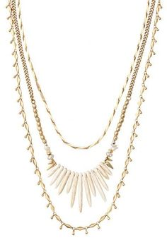 Stella & Dot Zuni layering necklace made with Howlite beads and freshwater pearls, spikes can be worn separately, length adjusted, two gold necklaces can be layered with others to make your look unique