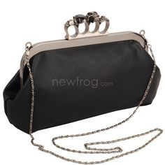 Fashion Skull Knuckle Rings Handbag Clutch Evening Bag Snap On Purse  Photo 8