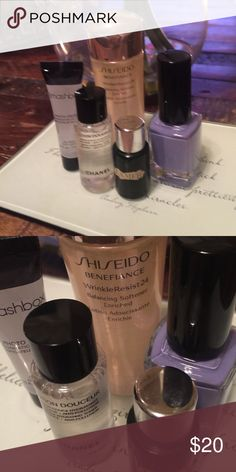 LOT OF HIGH END SKIN CARE PRODUCTS & NAIL COLOR DELUXE SAMPLE SIZES - Smashbox Photo Finish Primer, Chanel Lotion Douceur, LaMer The Tonic, Shiseido Benefience Wrinkle Resist... FULL SIZE ANGEL NAIL POLISH Makeup