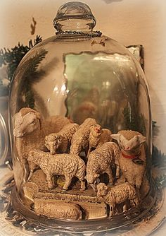 Collection of vintage C'mas sheep figures in a bell jar.