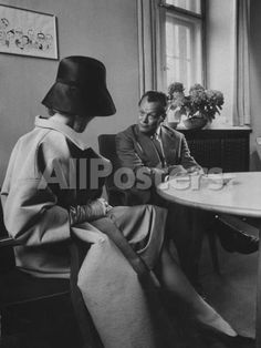 Actress Marlene Dietrich Visiting with Mayor Willy Brandt During Her Return to Berlin Movies Premium Photographic Print - 46 x 61 cm