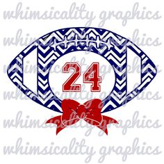 Digital File - Chevron Football With Bow For Monogram with SVG, DXF, PNG Commercial & Personal Use