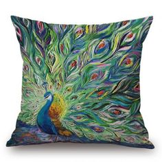 SHARE & Get it FREE | Southeast Asia Style Handpainted Unfolded Tail Peacock Printed Pillow CaseFor Fashion Lovers only:80,000+ Items·FREE SHIPPING Join Dresslily: Get YOUR $50 NOW!